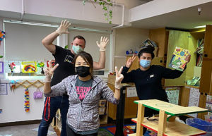 preschool teachers in masks